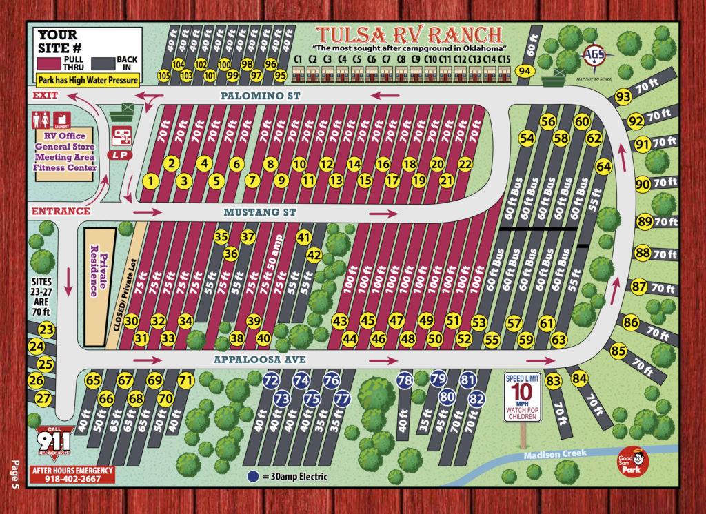 Tulsa RV Ranch site map